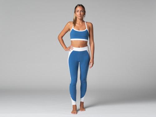 Legging de Yoga Bi-colore - Bio Bleu et Blanc