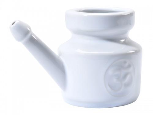 Article de Yoga Lota Om en porcelaine émaillée 400ml Blanc