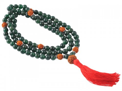 Mala 108 perles 8mm Jade & Rudraksha