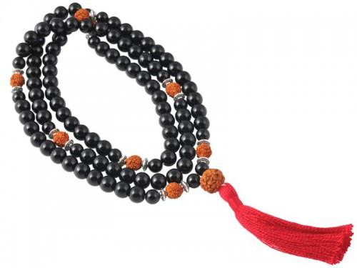 Mala 108 perles 8mm Onyx & Rudraksha