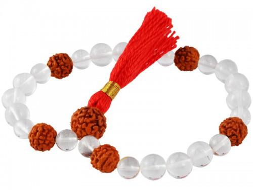 Mala 27 perles Cristal & Rudraksha