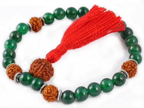 Mala 27 perles Jade & Rudraksha