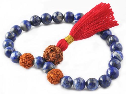 Mala 27 perles Lapiz Lazuli & Rudraksha