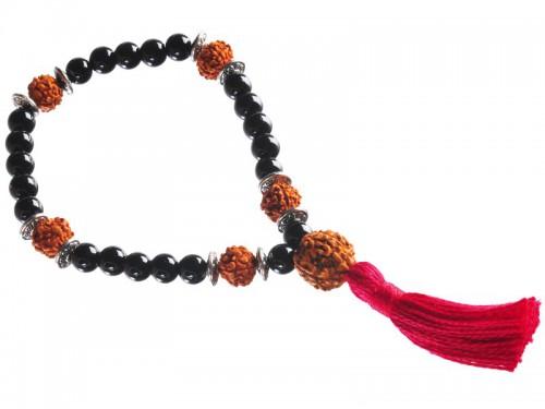 Mala 27 perles Onyx & Rudraksha