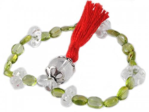 Mala 27 perles Peridot, Cristal de Roche & argent