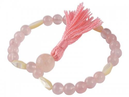 Mala 27 perles - Quartz Rose & Nacre Mala