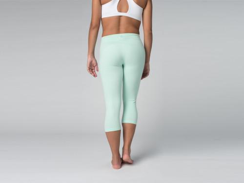 Article de Yoga Pantalon de yoga Corsaire  95% coton Bio et 5% Lycra Vert Lagon