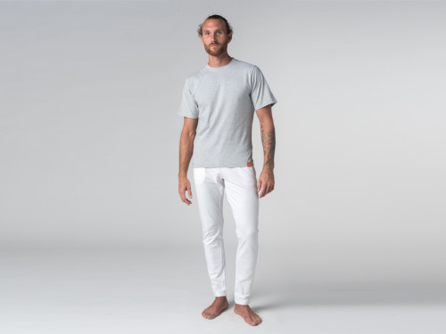 Article de Yoga Pantalon de yoga Slim homme - Coton Bio Blanc
