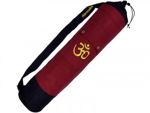Sac à tapis de yoga 100% Coton Bio 90cm x 15cm Bordeaux/noir