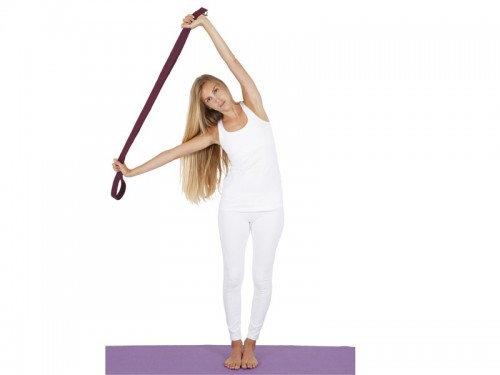 Article de Yoga Sangle de yoga 100% coton Bio boucle 1/2 lune Blanche
