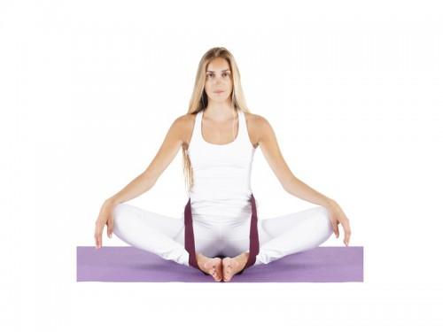 Article de Yoga Sangle de yoga 100% coton Bio boucle 1/2 lune Vert