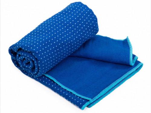 Serviette de Yoga anti-dérapante bicolore - 183cmx 61cm Bleu/Aqua