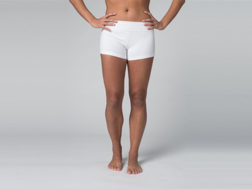 Short de yoga 95% coton Bio et 5% Lycra Blanc