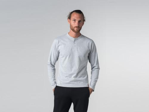 Article de Yoga T-shirt Boutons Manches longues - Coton Bio Gris