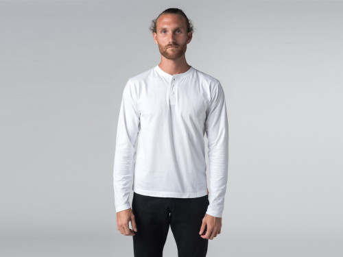 Article de Yoga T-shirt Manches longues 100% coton Bio Col 3 Boutons - Blanc