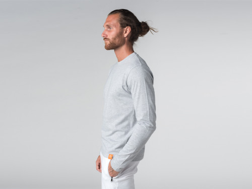 Article de Yoga T-shirt Tapan 100% coton Bio - Manches longues Gris Perlé