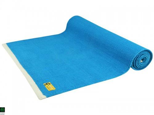 Tapis de yoga Taj 100% coton Bio - 2 m x 66 cm x 5mm Bleu
