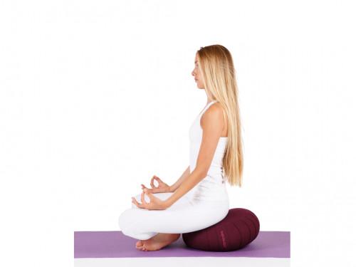 Article de Yoga Zafu Confort 100% coton Bio - Kapok Bordeaux