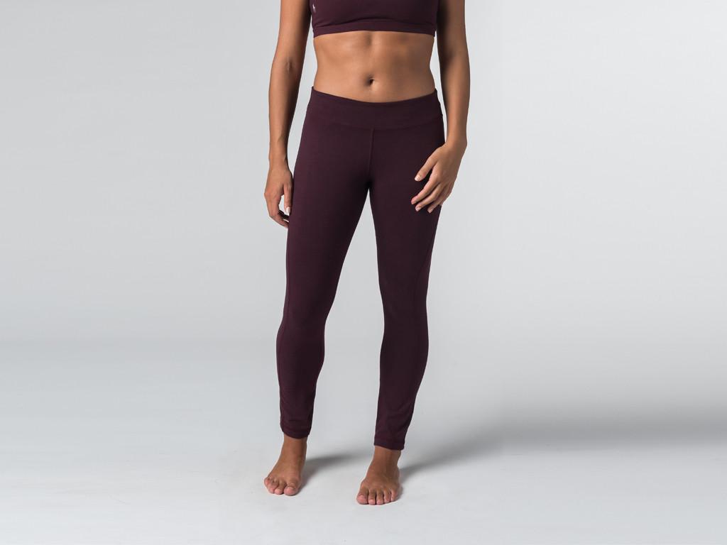 Yoga Legging 95% coton Bio et 5% Lycra Prune